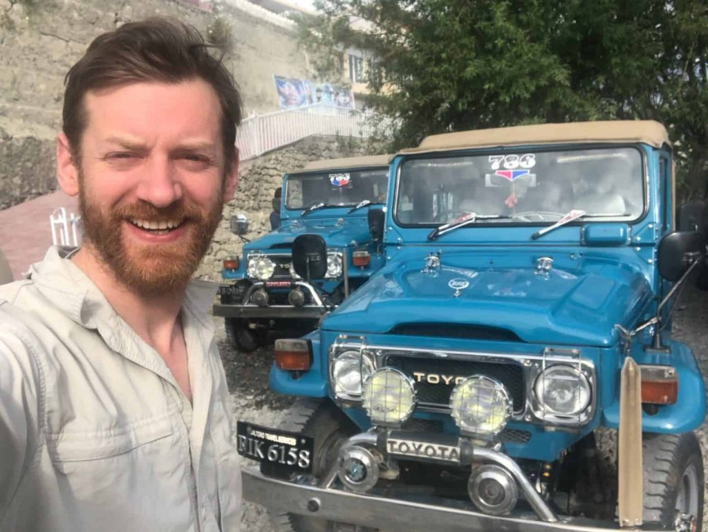 The amazingly maintained 1970's Toyota Landcruisers used to transport Jake and team along the notoriously dangerous road to Askole