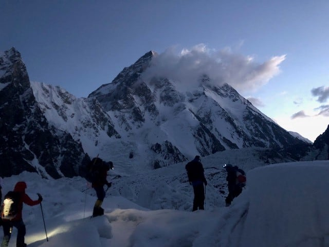 Making our way through the glacier to the base of the Broad Peak route (with K2 in the background), as the day starts to break. We'd soon turn off our head torches