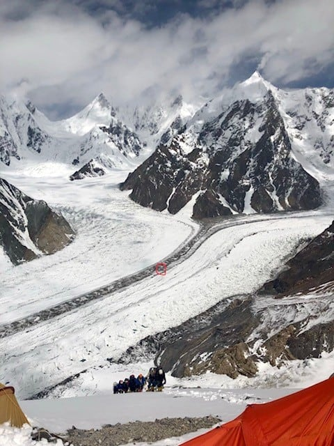 The rest of the team just about to arrive in Camp 1 on Broad Peak. I've circled our basecamp on the glacier below. 650m and about 4km away
