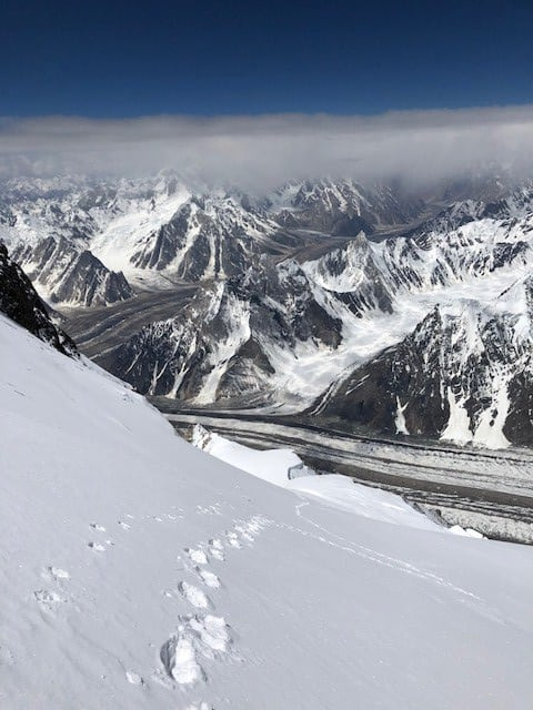 My lone tracks at around 7850m
