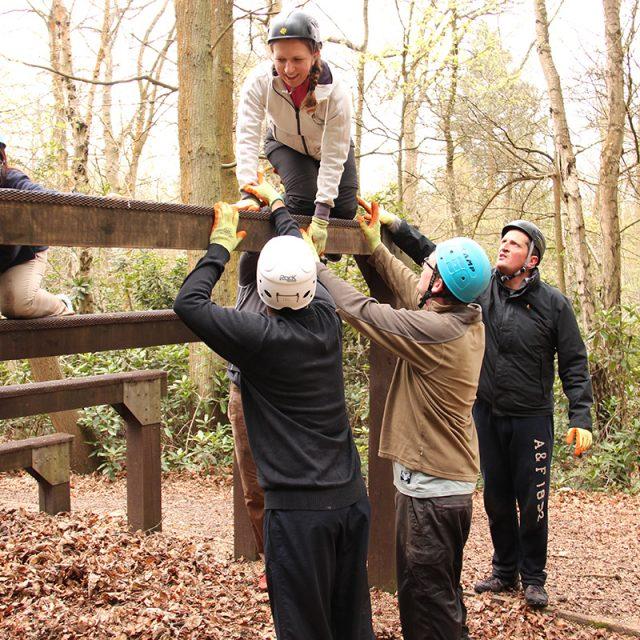 Participants on obstacel course
